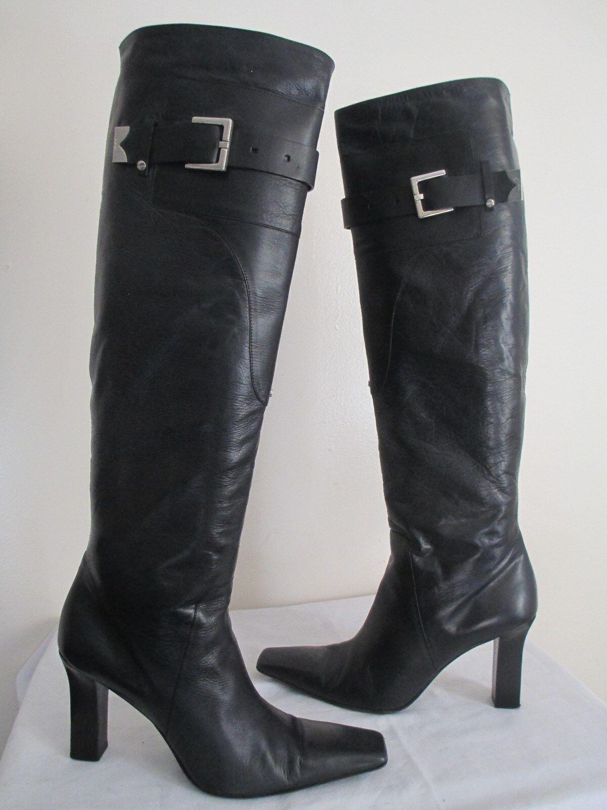 online al miglior prezzo GIVENCHY donna'S nero nero nero LEATHER KNEE HIGH stivali SZ EU 40 ½ US 9.5 MADE IN ITALY  consegna rapida
