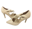 thumbnail 3 - Womens Ladies Beige Faux Leather High Heel Party Court Shoes Size UK 5 New