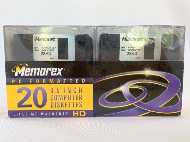 "Memorex HD Black Disks Floppy Diskettes 3.5/""  PC Formatted 10 pack NEW SEALED"