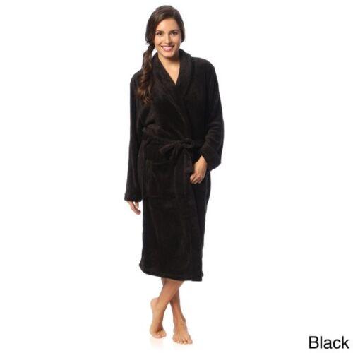 BLACK USA Seller Women Robe VERY SOFT Thick Bathrobe Coral Fleece Robe