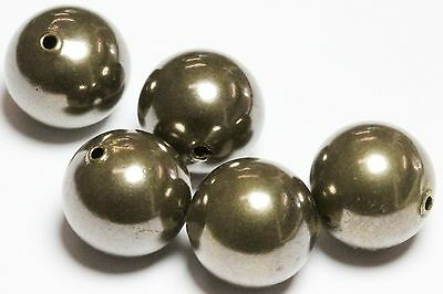 12 MM  Smooth Brass Large Round Seamless Hollow Beads 100 Pcs Hole 2.0 MM