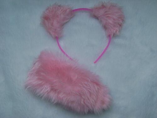 Care Bear Cheer Bear Pink Ears /& Stubby Tail Set Faux Fur Instant Fancy Dress