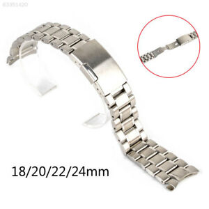 Stainless-Steel-Solid-Links-Watch-Band-Strap-Bracelet-Curved-End-18-20-22-24-mm