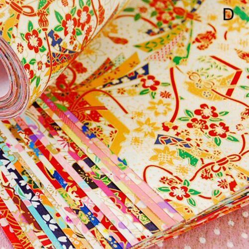 20pcs Japanese Style Gold Lines Flower Paper Crane DIY Kids Origami Scrapbook i