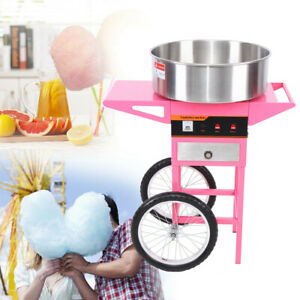 20-039-039-Casserole-Commercial-Electrique-Barbe-a-Papa-Machine-Panier-Rose-With-Cart