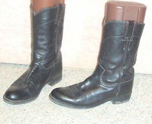 22ff1060002 Details about Women's black leather JUSTIN Cora roper western boots L3703 ,  sz 6.5 B