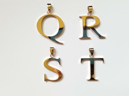 NEW 316L Stainless Steel Rose Gold IP Hollow Large Block Letter Initial Pendant