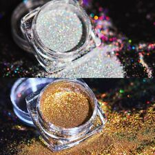 2 Boxes Holographic Laser Glitter Nail Powder Silver Gold Pigment Dust Decor 1g