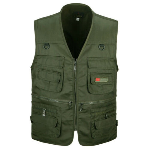 Men/'s Multi Pocket Outdoor Vest Fishing Army Hiking Photography Waistcoat Jacket