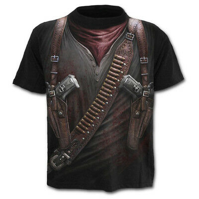 New Stylish 3D Military Tool Gun Printed Men's T-shirt Short Sleeve Summer Tees