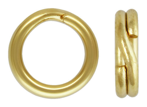 14K Yellow Gold 3.5mm-5mm Round Split Rings Key Jump Rings Chain Findings NEW