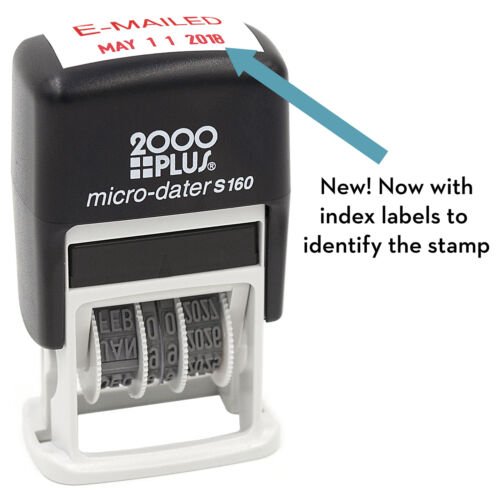 Self Inking Date Stamp with E-MAILED RED Ink 12-Year Band Micro-Dater 160