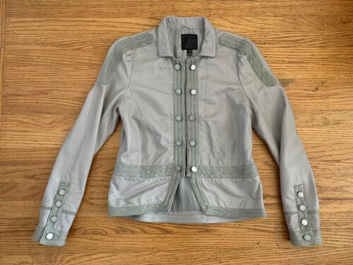 JOIE Womens sz M Cement color Lambskin soft leather jacket