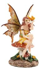 Amy Brown Golden Butterfly Faerie Mushroom Fairy Statue Enchanted Figurine