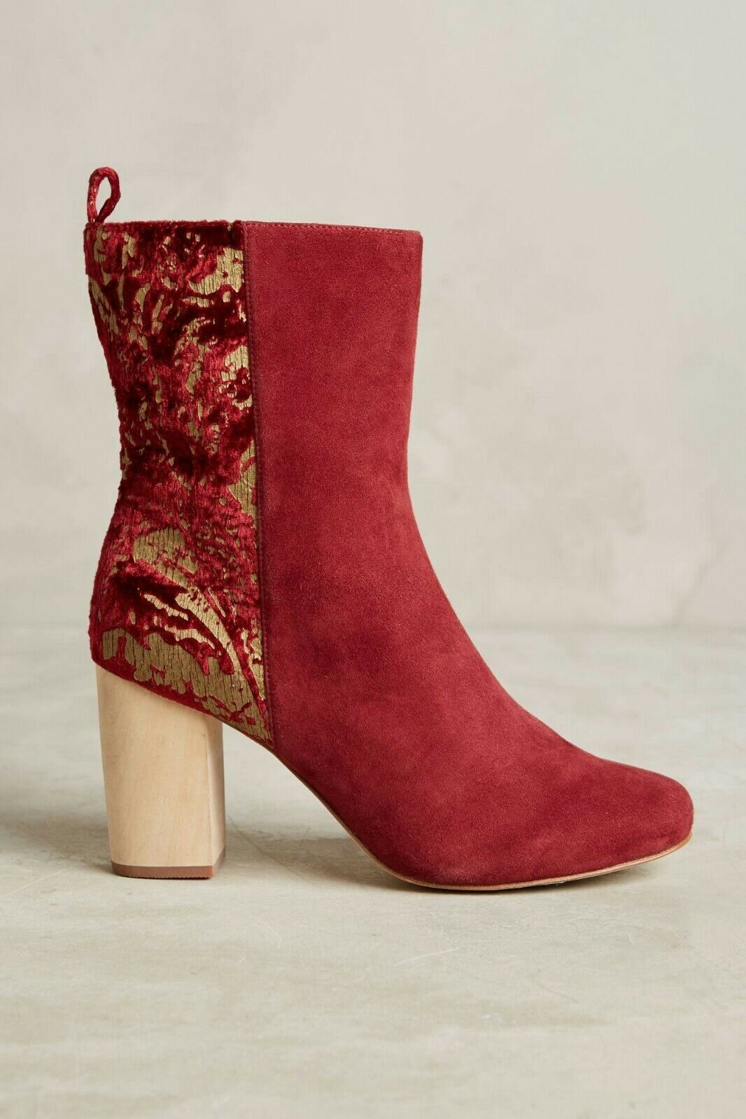 Anthropologie Dav Red Boot by Farylrobin Suede Velvet Holiday Size 38 $178
