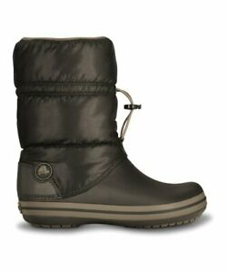 Crocs-Women-039-s-Winter-Puff-Boot-Slip-On-Dark-Brown