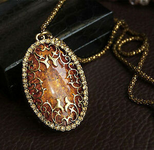 Vintage-Amber-Hollow-Long-chain-Sweater-Pendant-Necklace-Fashion-Jewelry-Classic