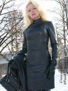 lederkleid leder kleid schwarz mini langarm gr e 32 58 xs xxxl ebay. Black Bedroom Furniture Sets. Home Design Ideas
