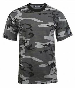 Wara-Men-039-s-Camouflage-Crew-Neck-Cotton-T-Shirt-Grey