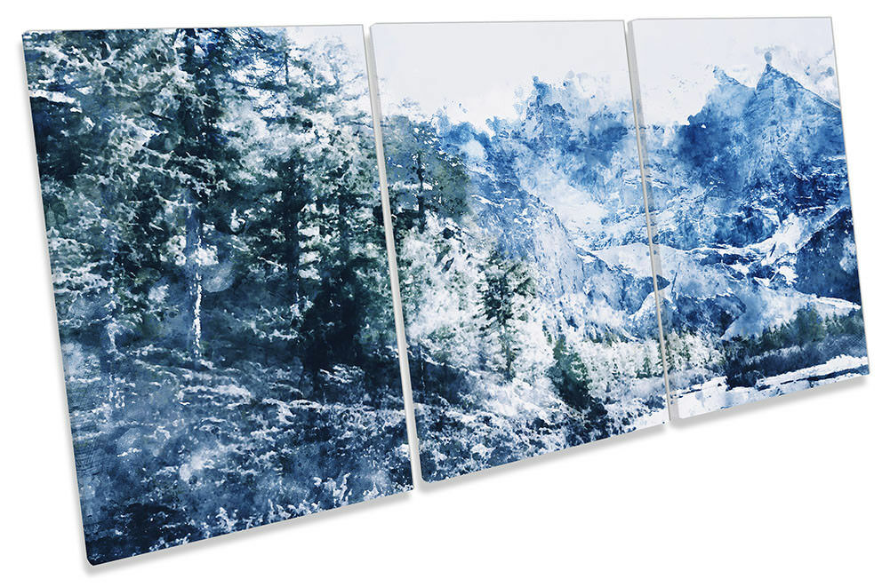 Blau Winter Forest Mountain Framed CANVAS PRINT TREBLE Wall Art