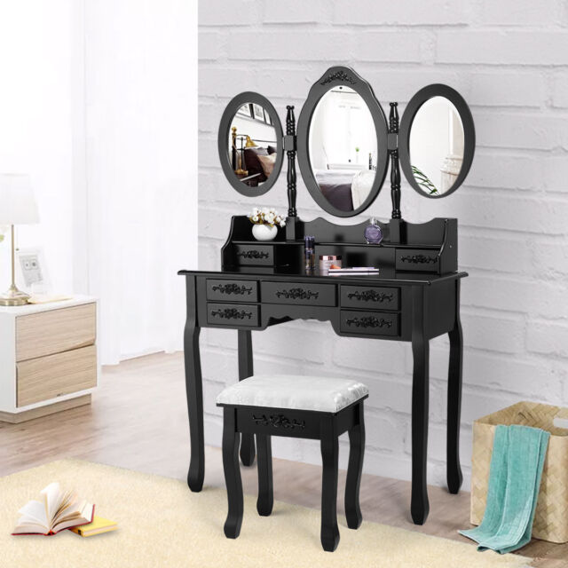 Jaxpety Makeup Vanity Table Set Tri Folding Mirror With 7 Drawer Makeup Dressing Desk Vanity Set With Stool Black 506016 For Sale Online Ebay