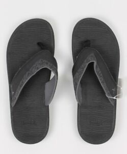 Sanuk-Mens-Compass-FlipFlops-Black-Charcoal-9-New