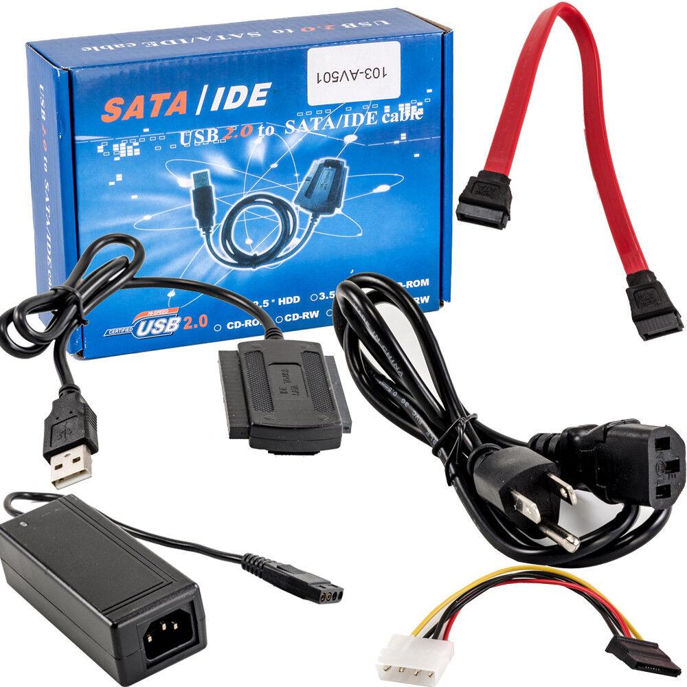 Konesky USB 2.0 A IDE//Sata 2.5 3.5 Disco Duro Disco De Acceso R/ápido HDD Convertidor Adaptador Cable Plug and Play
