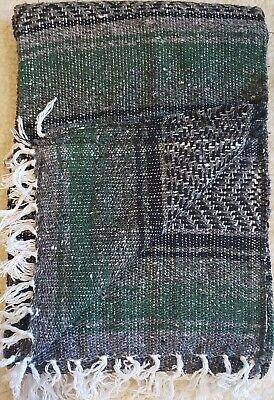 "Authentic Dark Green Mexican Falsa Blanket Hand Woven Yoga Mat  74/"" x 50/"""