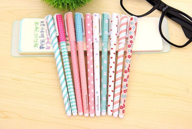 New 10PCS Cute Korean Stationery Watercolor Pen Gel Pens Set Color Kandelia