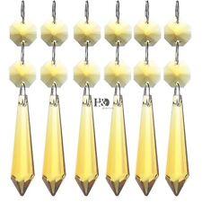 5pcs Yellow Cut Crystal Chandelier Prisms Drops Glass Faceted Drop Pendants 55mm