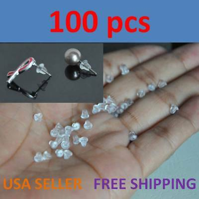 100PCS Heavy Duty Rubber Earring Backs Sleeves Holders Stoppers Nuts Silicone