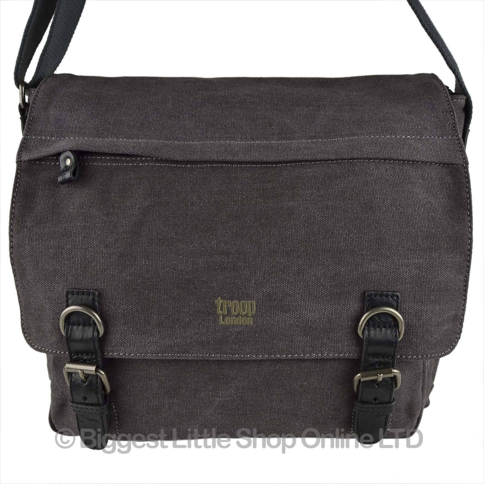 Neuf Neuf Neuf Hommes Femmes Grand Toile Cuir Messager Sac Bandoulière par Troop London 9a1542