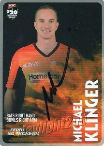 Signed-2014-2015-PERTH-SCORCHERS-Cricket-Card-MICHAEL-KLINGER-Big-Bash-League