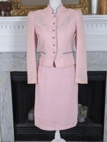 Vintage 80s Pink Gray Puff Sleeve David Benjamin S