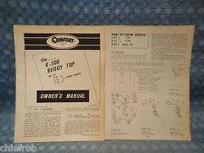 1958 Comfort K500 Buggy Top for Farm Tractors Original Owners Manual