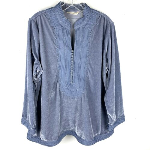 Soft Surroundings Blue Embroidered Tunic Blouse Pe