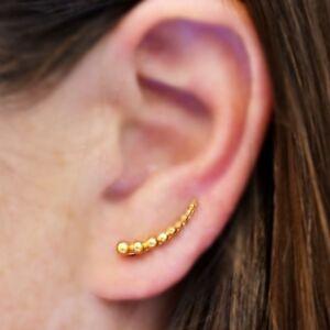 Simple-Minimalist-24k-Gold-Plated-Vermeil-Granulation-Ball-Ear-Climbers-Earrings