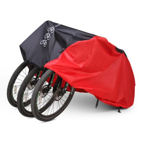 Rot Fahrradabdeckung Fahrrad Garage Abdeckung Roller Abdeckplane für 3 Fahrräder