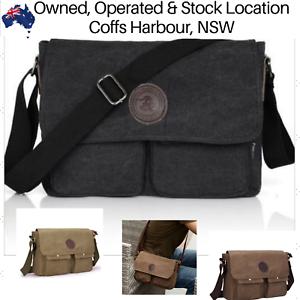 Mens Canvas Bag Shoulder Messenger School Bags Military Vintage Travel Satchel