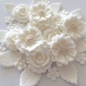 Details About White Wedding Rose Bouquet Edible Sugar Flowers Cake Decorations Cupcake Toppers