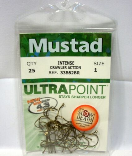 Package of 25 Size 1 Mustad Slow Death Bronze Ultra Point Fishing Hooks