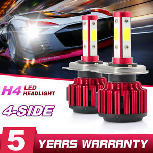 2x-4-sides-H4-HB2-9003-CREE-LED-Headlight-Kit-200W-6000K-30000LM-Hi-lo-Beam-Bulb