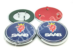 2 x Saab 93 9-3 Convertible Badge Set 2004-2012 Front Rear Bonnet Boot Emblem
