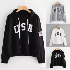 premium selection a15c8 087e6 Dettagli su Felpa donna USA Bandiera Stampato Felpa A maniche lunghe  Pullover Tops Cappotto
