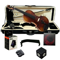 Paititi 4/4 Full Size Premium Antique Style Hand Carved Ebony Fitted Violin Kit