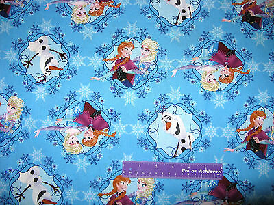 Disney FROZEN Elsa Anna Olaf Snowman Princess Cotton Fabric By The Half Yard