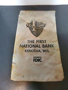 Vintage Bank Deposit Money Bag Green Canvas Zipper Top 1st National Bank Kenosha