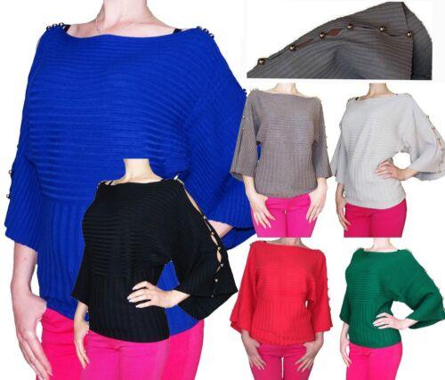 Neu Damen Fledermaus Strick Pullover Pulli Poncho Shirt Kimono Bolero Tunika Top