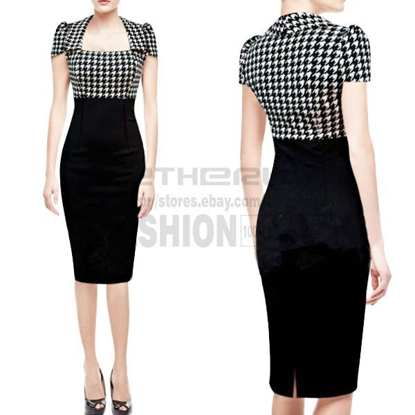 Womens Square Neck Houndstooth Stretch Bodycon Business Party Pencil Slim Dress