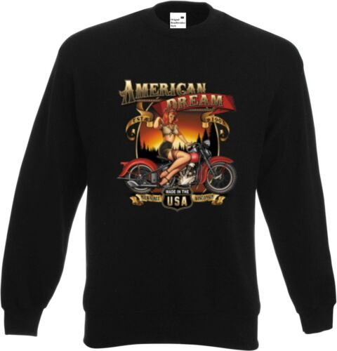 Sweatshirt schwarz V Twin HD Biker Chopper/&Old Schoolmotiv Modell American Dream